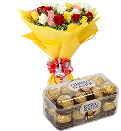 Box of 16 Ferrero Rocher+ 12 Mix colour Rose
