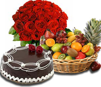 Flowers, Fruits, Cake