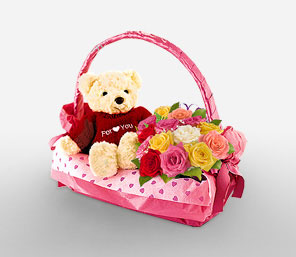 Teddy and 12 Pink roses basket
