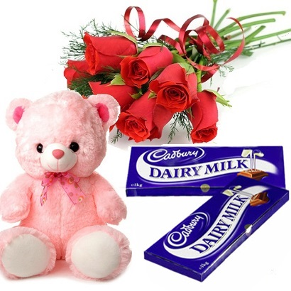2 Cadburys Dairy Milk Teddy 12 Red roses bunch
