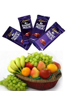 2 Kg Fruits Basket and 4 Dairy Milk chocolates