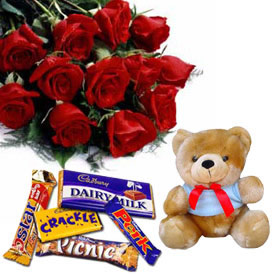 12 Red Roses+Teddy + 5 Cadburys Chocolates