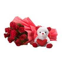 12 Red Roses+Teddy