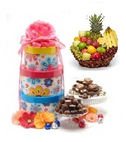 Gift Wrapped Basket with  1/2 Kg Sweets, 1/2Kg Cookies and 1/2Kg Chocolate