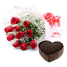 12 red Roses  + Card + 1Kg Heart Chocolate Cake
