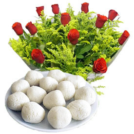 1 Kg. Rasgulla and 12 red roses