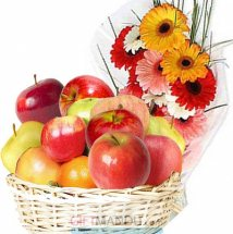 Basket of Fresh Apples 2 Kg and 12 Flowers Bunch