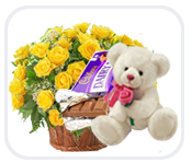 4 Cadburys Dairy Milk Teddy 12 yellow roses basket
