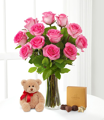 24 Pink Roses in Vase+Teddy+box of Chocolates