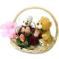 2  Teddies with pink and red roses in a Basket