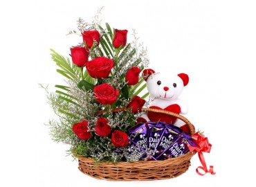 Teddy, Heart, Chocolates and a Rose in a Basket