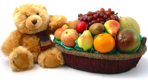 Teddy 10 inches+Fruits Basket 3 Kg