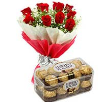 12 Red Roses and Box of 16 pieces Fererro Rocher Chocolates