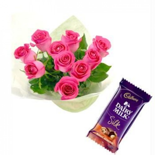 2 dairy Milk chocolates+12 Pink Roses