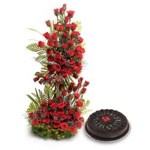 Red Roses on Stand+1 Kg Cake