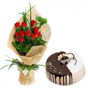 12 red Roses Vase + Card + 1/2 Kg Butterscotch Cake