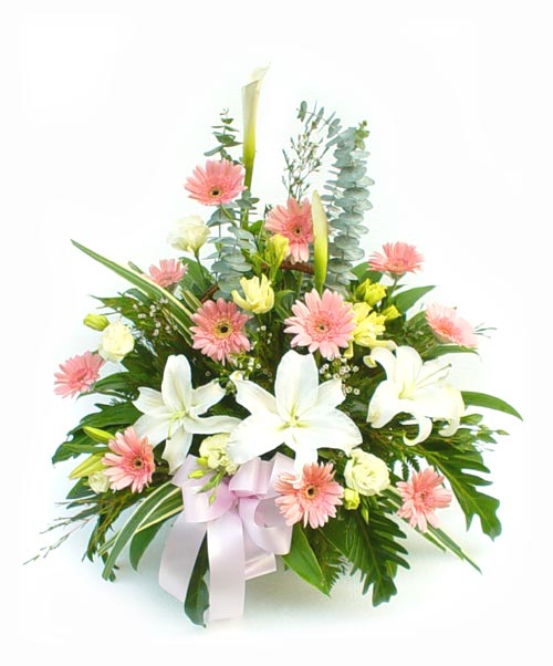 18 Mixed Flowers in a Basket