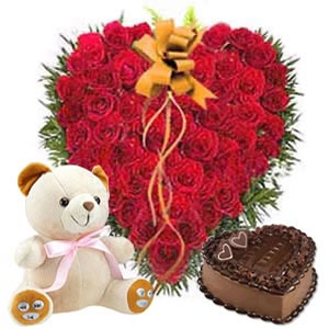 50 Heart shaped roses+1 kg cake+teddy