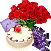 24 red roses basket+4 temptation chocolates+1 kg Cake+card