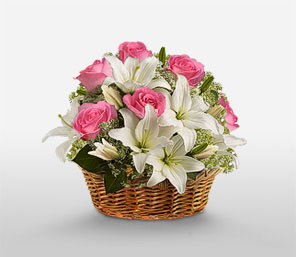 24 Pink roses and White Liliums in a Basket